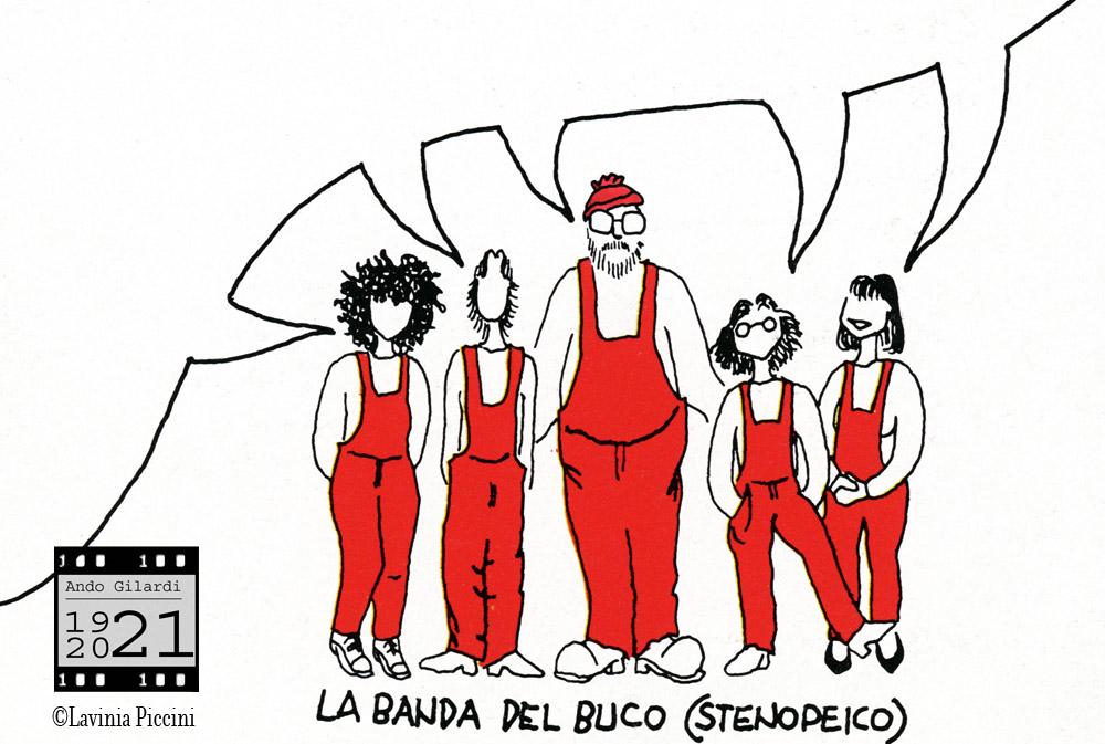 """Ando Gilardi tra le """"fotogrammine"""" sue allieve e assistenti alle inziative di fotografia nello spazio dell'""""Isola della didattica"""" ideata da Gilardi per la sezione culturale del Sicof, Milano 1981"""