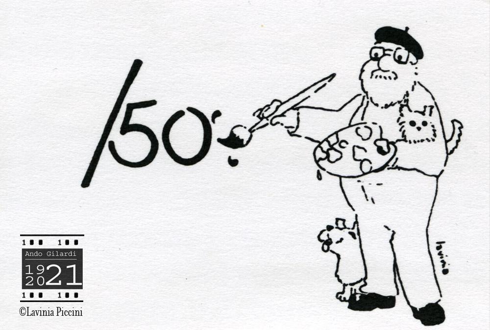 Ando Gilardi ritratto come pittore, logo disegnato da Lavinia Piccini 1995