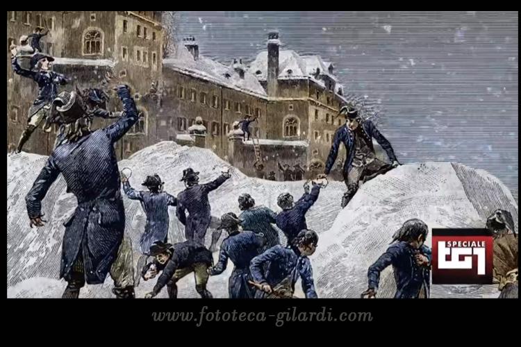 Napoleone alla scuola militare di Brienne guida vincendo, una battaglia a palle di neve