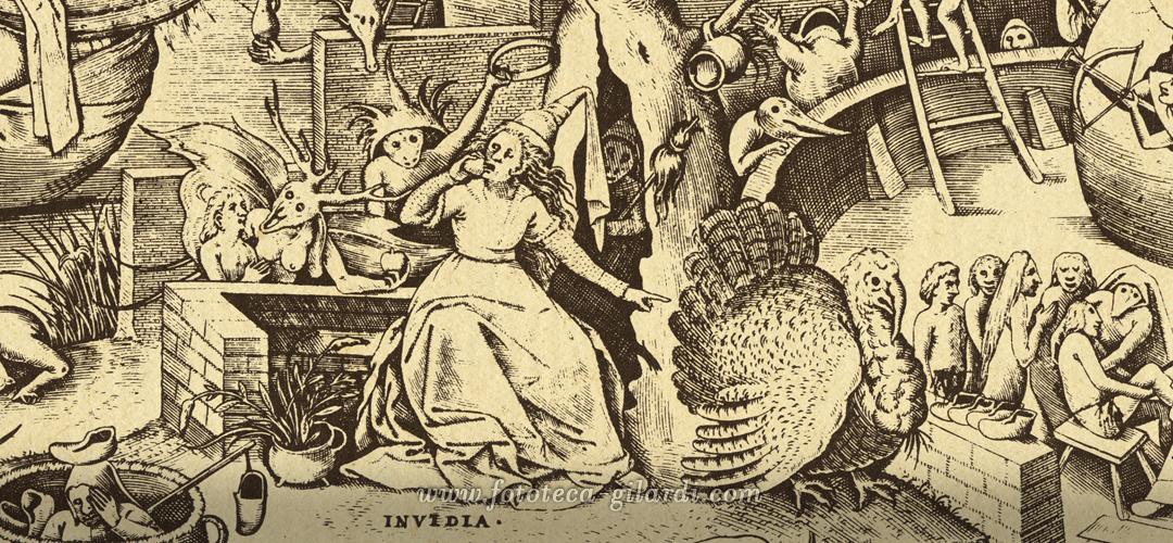 Invidia. Peter Brugel il Vecchio. Incisione dalla serie dedicata ai Vizi Capitali, 1558